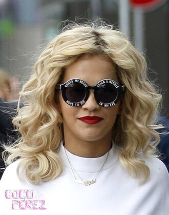sunglasses rita ora cross my heart hope die stick needle in eye black sunglasses tintie tinted blonde hair r.i.p how we do shine ya light radioactive i will never let you down quote on it black and white sunnies cool dope cool sunnies dope sunnies fashion vogue