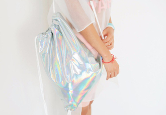 bag holographic backpack holographic bag bomber jacket cute sportswear gym shiny glossy pink rainbow one direction concert fashion