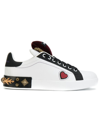 heart women embellished sneakers leather white shoes