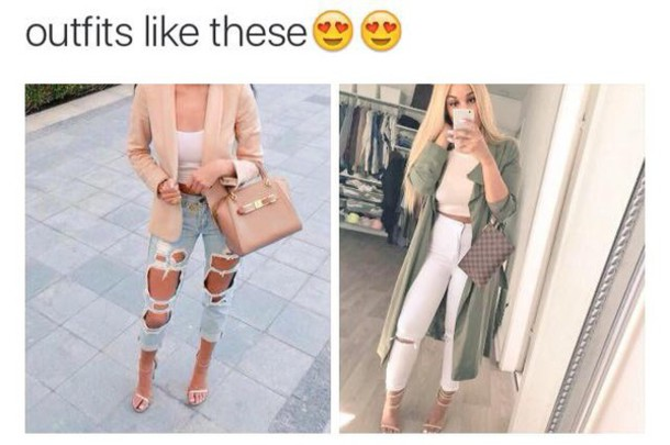 blouse outfit tumblr heels jacket crop tops nude top blazer green coat ripped jeans white jeans high heel sandals nude sandals coat beige jacket