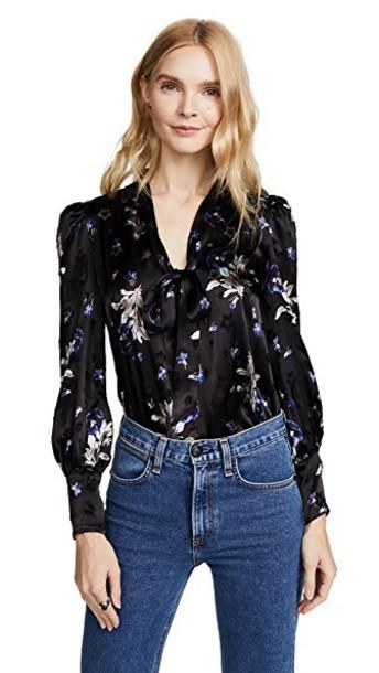 Rebecca Taylor top floral top long floral violet black