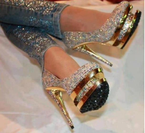 Gold Glitter Heels - Fv Xh Shoes High Heels Glitter Heels Glitter Pants Gold Jeans Glitter Pumps Sparkly Heels