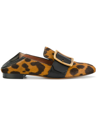 hair women loafers leather print brown leopard print shoes