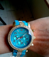 jewels,watch,michael kors,blue and gold