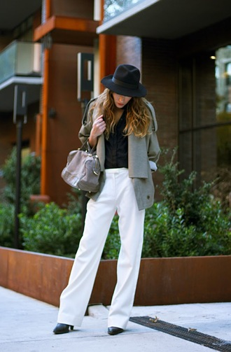 the marcy stop blogger jacket blouse fedora grey bag