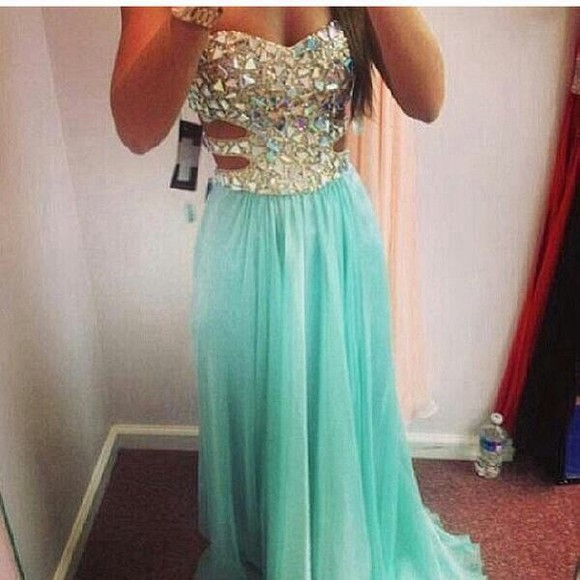 blue beautiful turquoise girly dress prom prom dress long prom dress homecoming homecoming dresses maxi dress sky frozen diamante girls best friend