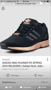 shoes,adidas zx flux black rose gold