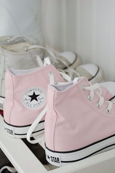shoes light pink converse converse high tops