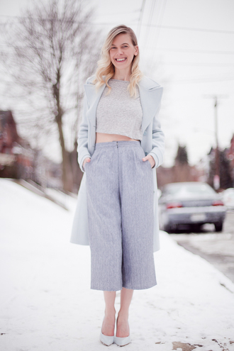 cocorosa blogger culottes crop tops grey grey coat