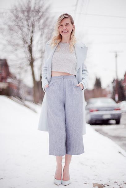 cocorosa blogger culottes crop tops grey grey coat coat top shoes