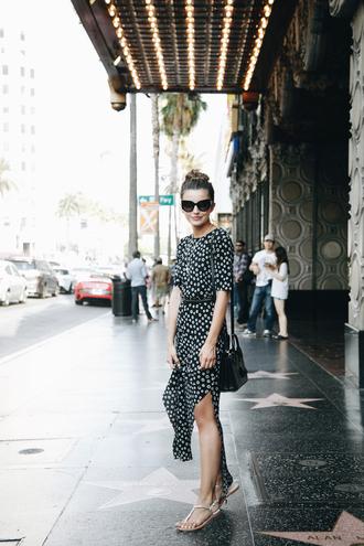 lovely pepa blogger dress bag sunglasses jewels floral dress shoulder bag slit dress flats black bag