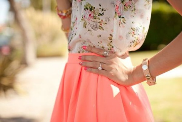 skirt icifashion ici fashion coral skirt scuba skirt blouse