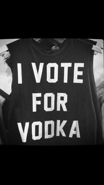 top i vote for vodka t-shirt black t-shirt black top women femme