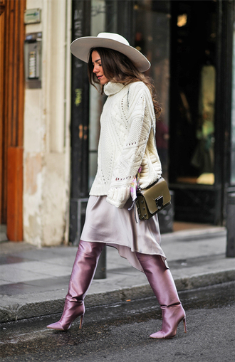 sweater tumblr white sweater knit knitwear knitted sweater boots lilac dress midi dress hat white hat