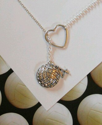 jewels necklace volleyball number heart