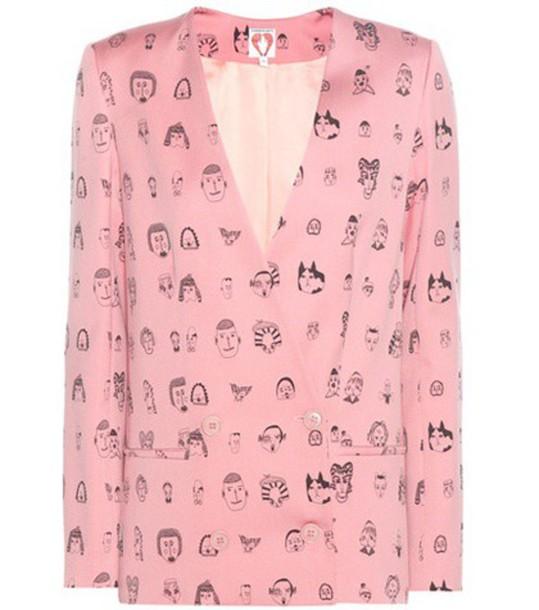Shrimps Vera Wool Printed Blazer in pink