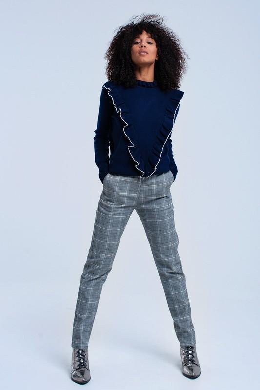 Grey Tartan Plaid Print Pants