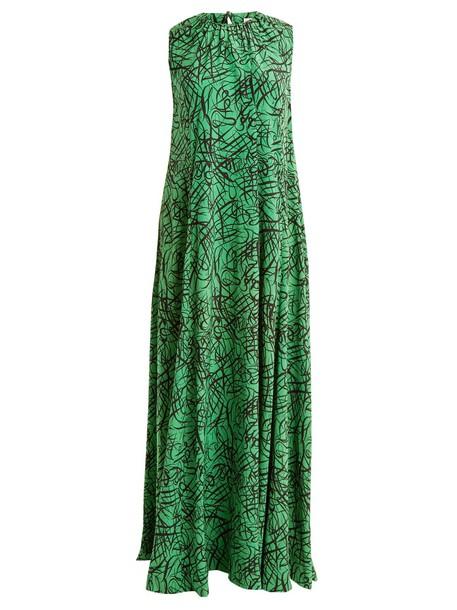 Raey dress maxi dress maxi print silk green
