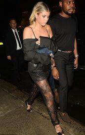 pants,black,lace,see through,sofia richie,sandals,NY Fashion Week 2016