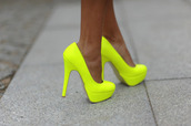 shoes,neon,high heels,yellow,neon yellow,heels,closed-toed,neon yellow heels,neon heels,neon shoes,yellow shoes,yellow heels,yellow pumps,pumps,party outfits,party shoes