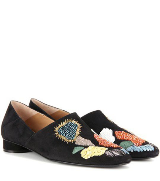 The Row Boelle Embellished Suede Slippers in black