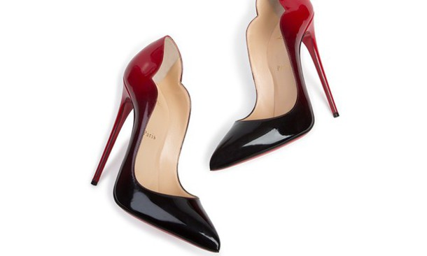 Shoes: scalloped, red dress, red, red lipstick, redheels, black ...