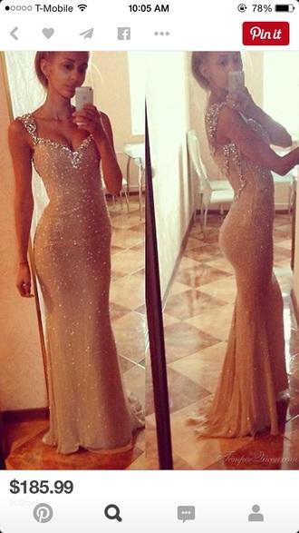 dress champagne prom dress sparkle dress