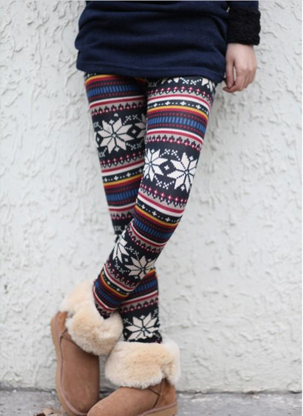 Winter Extra Warm SWEATER soft fleece NORDIC PRINT Leggings Tights Pants S-L