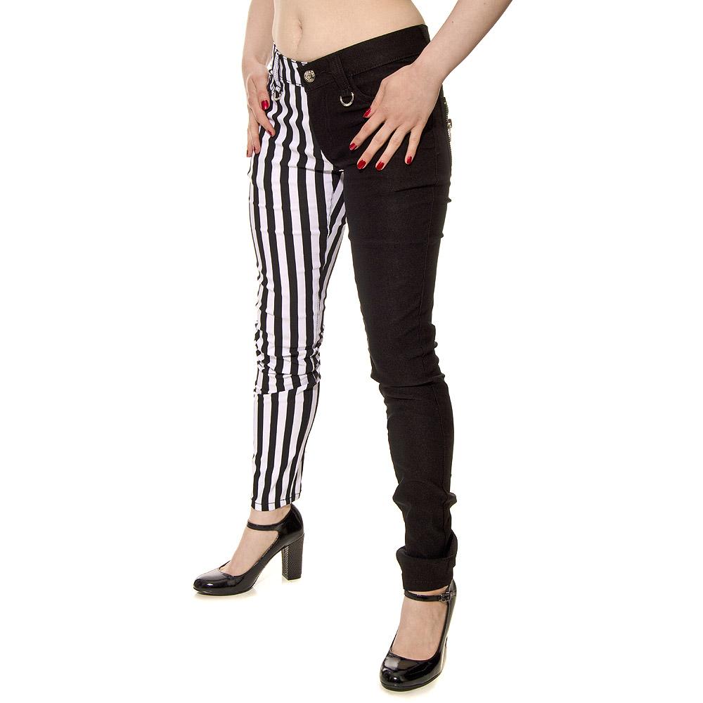 Banned Stripe Jeans (Black/White)