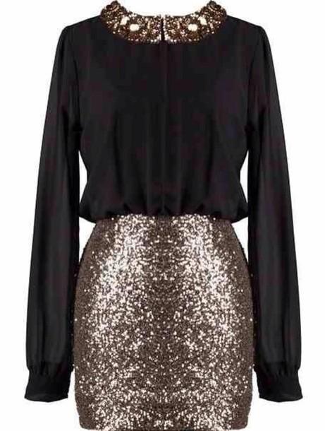 dress black sequins sequin dress long sleeves new year's eve glitter dress glitter
