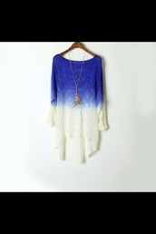 sweater,ombre,blue shirt,white,blue sweater,cold,winter outfits,necklace,jewerly,look,style,girl,bag,perfume,violet,pretty,cute,pink,pimkie,dress,jeans,shorts,tank top,shirt,gradient,bohemian,boho,top,blue,skirt,fluffy,sparkle,princess