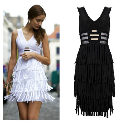 Aliexpress.com : Buy 2014 New Arrival Women's White Black  V Neck Metallic Tassel Mesh Sexy Bandage Dress Sleeveless Nightclub Party Dresses H820 from Reliable Cocktail Dresses suppliers on Lady Go Fashion Shop