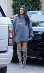 sweater,boots,over the knee boots,kourtney kardashian,grey,oversized sweater,sweatshirt,shoes,knee high boots,grey boots,suede boots,kanye west,kanye west clothes,dress,long sweater,sweater dress,grey dress,grey sweater,long sweater dress