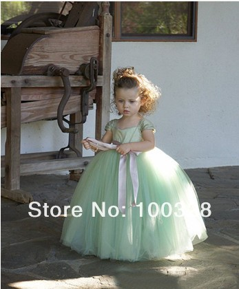 Aliexpress.com : buy real images lovel custom made ball gown straps organza light green cap sleeve flower girl dress with bow for baby free shipping from reliable cap pvc suppliers on rose wedding dress co., ltd