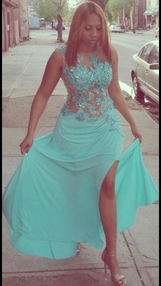 dress aqua dress aqua blue prom dress glitter dress glitter prom dress blue dress leg slits slit dress sparkle sparkly dress