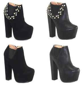 Womens ladies chelsea boots high block heel booties platform shoes boots uk 3 8