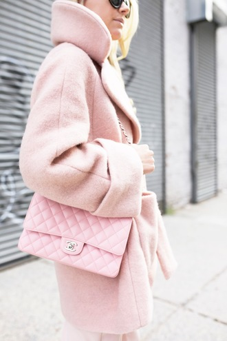 coat pink winter outfit pink coat bag pink bag chanel chanel bag all pink everything all pink wishlist winter outfits winter look