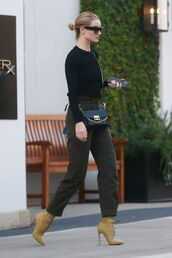 pants,khaki,khaki pants,rosie huntington-whiteley,model off-duty,fall outfits,fall sweater,fall colors,boots,workout tops,work outfits