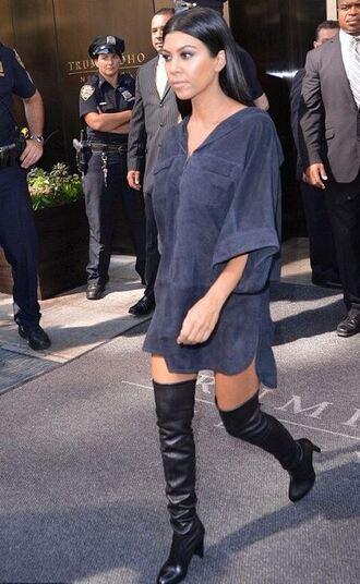 dress shirt dress tunic dress kourtney kardashian boots knee high boots fashion week shoes