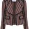 Derek lam 10 crosby striped fitted jacket, women's, size: 2, blue, cotton/acrylic/polyamide
