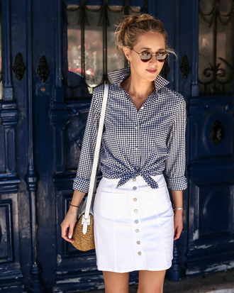 memorandum blogger skirt shoes sunglasses jewels button up white skirt button up skirt mini skirt round sunglasses