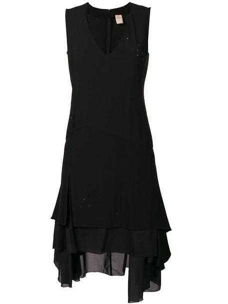 dress plunge dress women spandex black silk