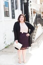 blouse,skirt,plus size interview outfit,curvy,plus size,plus size top,ruffle,work outfits,office outfits,midi skirt,purple,pumps,bag,white bag,cardigan,black cardigan