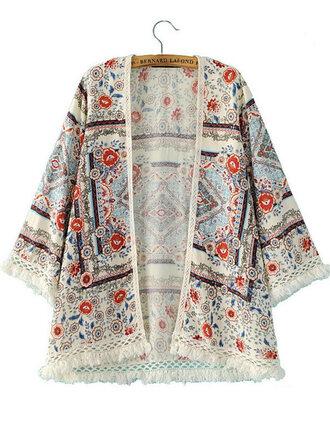 cardigan blouse open front vintage brenda-shop kimono floral kimono tassel fringes boho summer beach