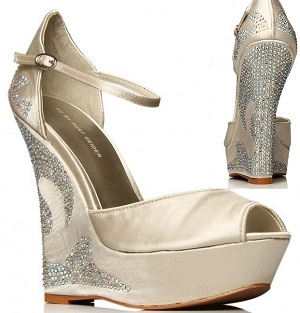 Nude Champagne Kurt Geiger Crystal Wedge Wedding Shoes | Wedding shoes by Perdita's