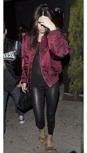 shoes,sandals,jacket,kendall jenner,pants,leather pants,spring outfits,bomber jacket,burgundy