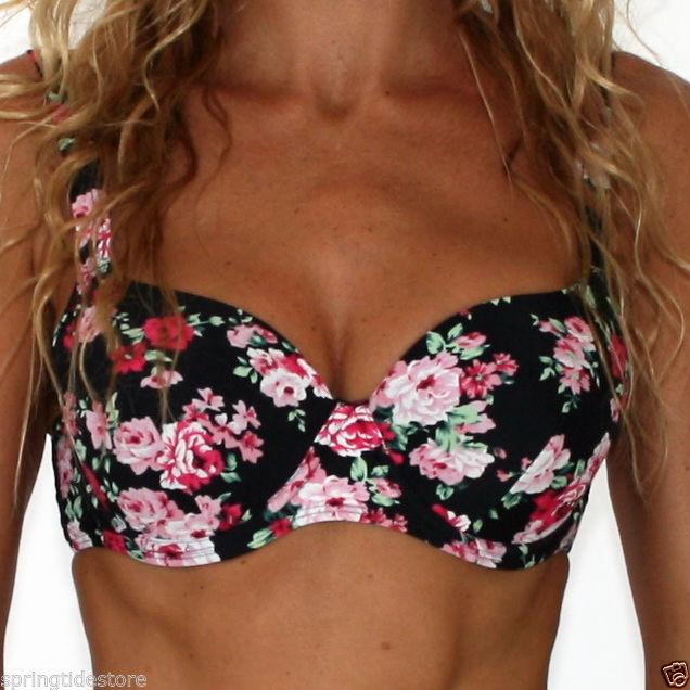 ♥ Bronte D E F or G Cup Black Floral Bikini Top or Cheeky Tie Scrunch Bottoms | eBay