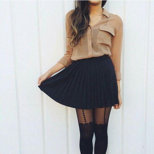tights black leggings hearts tights skirt blouse tan blouse