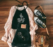 shirt,black,cacti,tumblr