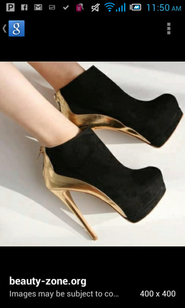 shoes black heels gold piece